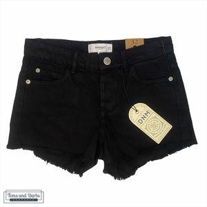 Mango High Waisted Black Denim Jean Shorts